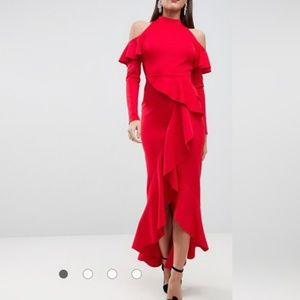 Asos Red Open Back Maxi